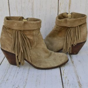 Sam Edelman Louie fringe tan booties